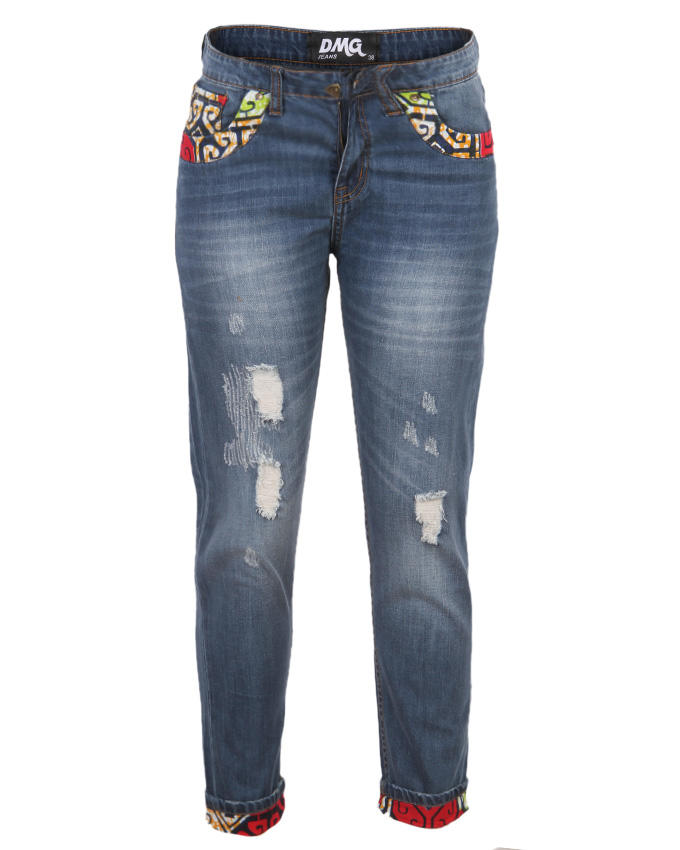 Daisy Boyfriend Jeans - Blue/Red - dmgclothing